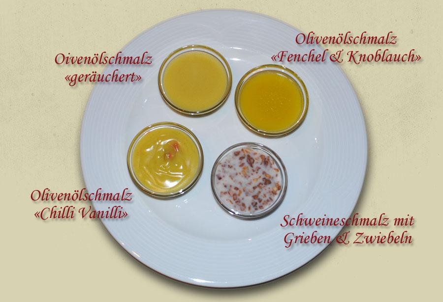 Schmalzteller mit Gaumen schmeichelndem Olivenölschmalz